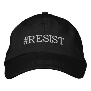 Resist Political Protest white text on black Embroidered Baseball Cap c0a1d87ba56e