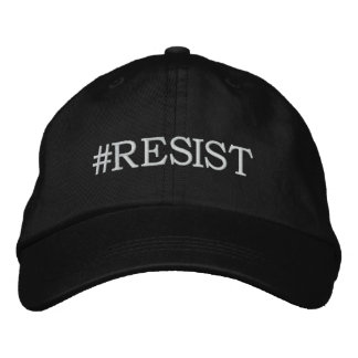 #Resist Political Protest white text on black Embroidered Baseball Cap