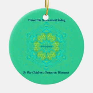 #Resist Protect Environment Anti-Trump Mandala Ceramic Ornament