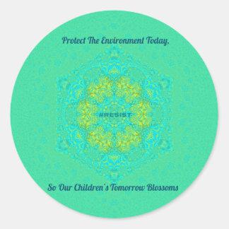 #Resist Protect Environment Anti-Trump Mandala Classic Round Sticker