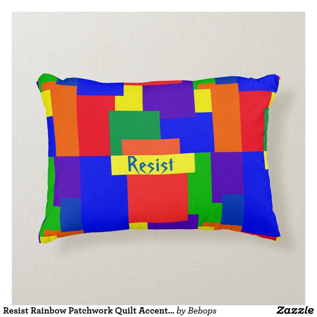 Resist Rainbow Patchwork Quilt Accent Pillow