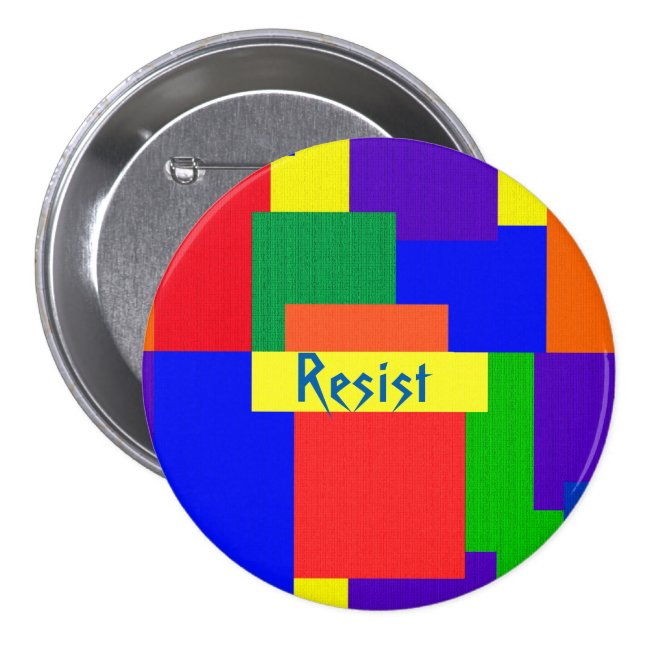 Resist Rainbow Patchwork Quilt Design Button