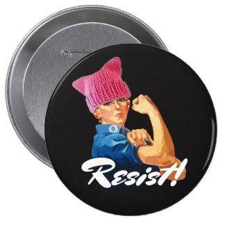 """""""Resist!"""" & Rosie in Pussy Hat Pinback Button"""