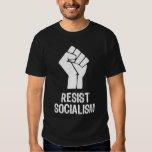 Resist Socialism - White on Black T Shirts