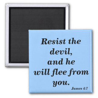 Resist The Devil and he WIll Flee Bible Verse 2 Inch Square Magnet