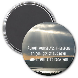 Resist the Devil and He Will Flee From You 3 Inch Round Magnet