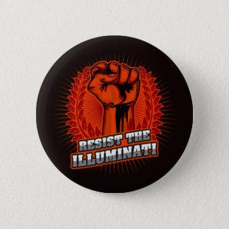 Resist The Illuminati Orange Raised Fist Pinback Button