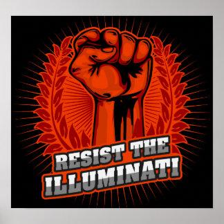 Resist The Illuminati Orange Raised Fist Poster