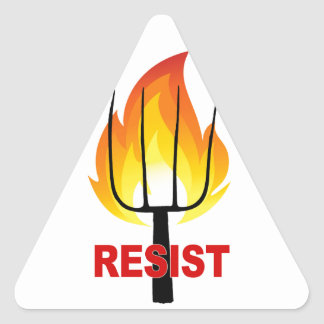 Resist Torch and Pitchfork Triangle Sticker