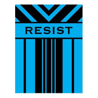 Resist Vibrant Blue and Black Stripes & Chevrons Postcard