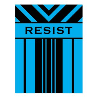 Resist Vibrant Blue and Black Stripes & Chevrons Postcard