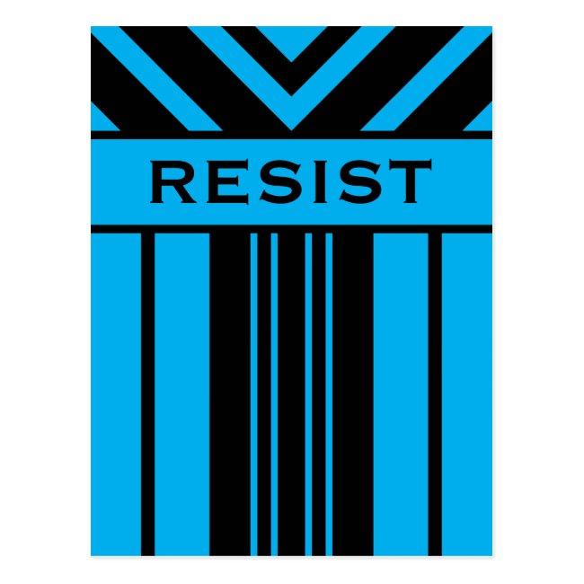 Resist Vibrant Blue and Black Stripes & Chevrons