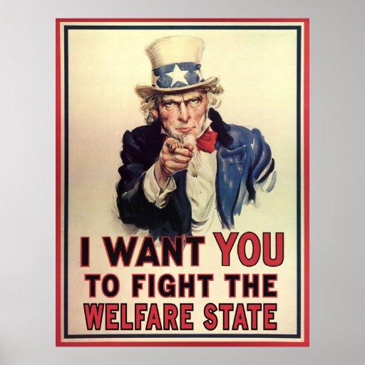 Resista al estado del bienestar póster