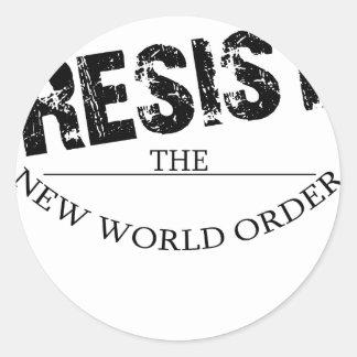 Resista el nuevo orden mundial etiquetas redondas