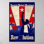 Resista el poster rebelde de la revolución del res