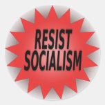 RESISTA EL SOCIALISMO PEGATINA REDONDA