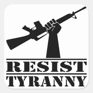 Resista la tiranía AR Calcomanias Cuadradas