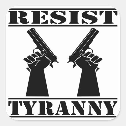 Resista las pistolas de la tiranía colcomanias cuadradas