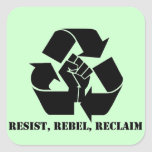 Resista, rebele, reclame calcomania cuadrada personalizada