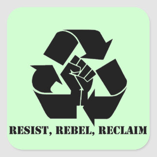 Resista rebele reclame calcomania cuadrada personalizada
