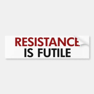Resistance Is Futile Bumper Sticker Car Bumper Sticker