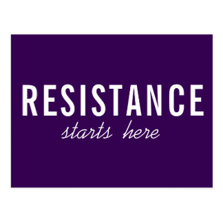 Resistance Starts Here, bold white text on purple Postcard