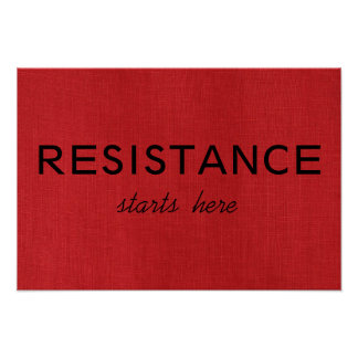 Resistance Starts Here on Red Linen Texture Photo Poster