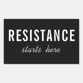 Resistance Starts Here, white text on black Rectangular Sticker