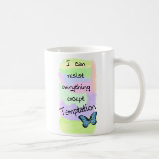 Resisting temptation coffee mug