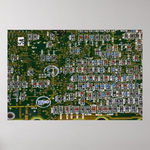 Resistores en una placa de circuito posters