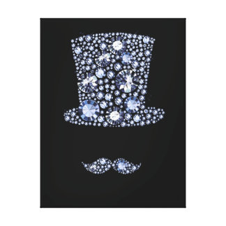 Resized Bling Top Hat and Moustache Print - SRF