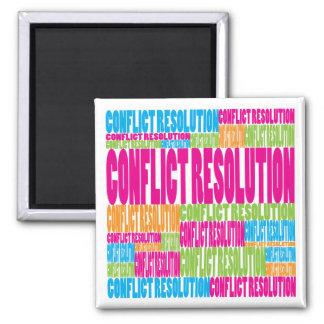 Resolución de conflicto colorida imán de nevera