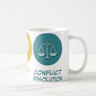 Resolución de conflicto del amor de la paz tazas de café