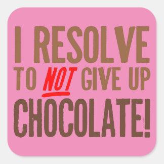 Resolución del chocolate pegatina cuadrada