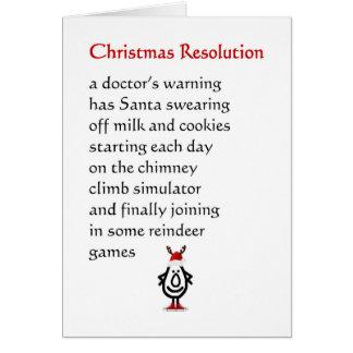Resolución del navidad - un poema divertido del tarjeta de felicitación