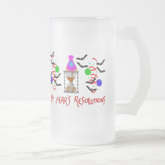 Resolutions Past 16 Oz Frosted Glass Beer Mug