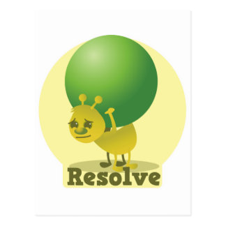 Resolve determind ant motivated with pea postcard
