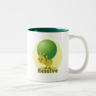 Resolve determind ant motivated with pea Two-Tone coffee mug