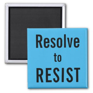 Resolve to RESIST, black text on sky blue magnet