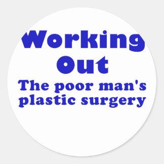 Resolviendo un pobre sirve cirugía plástica pegatina redonda