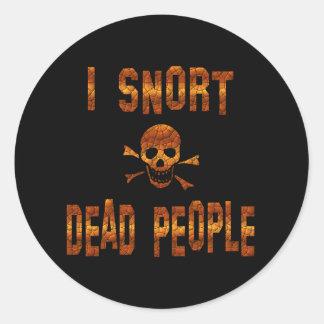 Resoplo gente muerta pegatina redonda