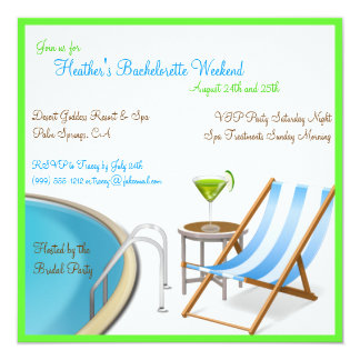 Resort Bachelorette Weekend Custom Invitations