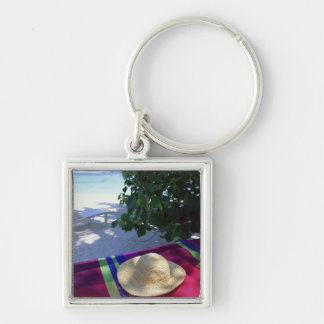 Resort Image 3 Silver-Colored Square Keychain