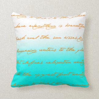 Resort: Light Aqua, peach and white throw pillow