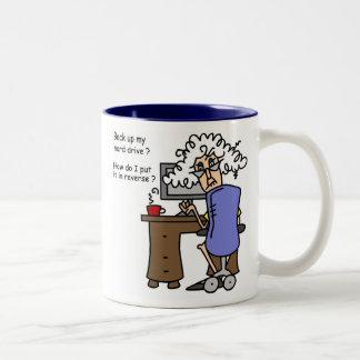 Respaldo de la impulsión dura chistoso taza de café