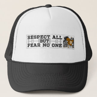 Respect All Fear No One Orange Trucker Hat