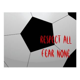 Respect All, Fear None Soccer Ball Postcard