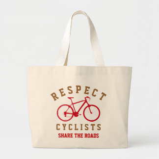 respect bicyclists sport-themed jumbo tote bag