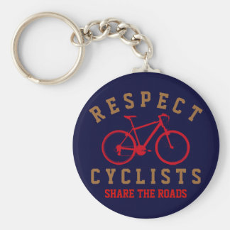 respect bicyclists sport-themed basic round button keychain
