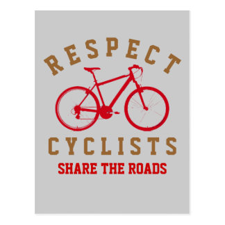 respect bicyclists sport-themed postcard